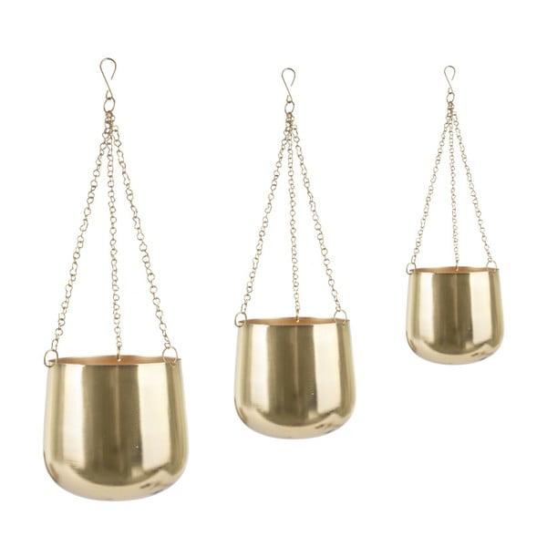 Zestaw 3 wiszących metalowych doniczek w złotym kolorze PT LIVING Cask
