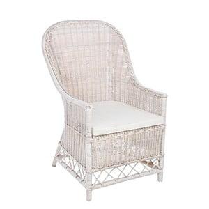 Biały fotel rattanowy Bizzotto Valentin