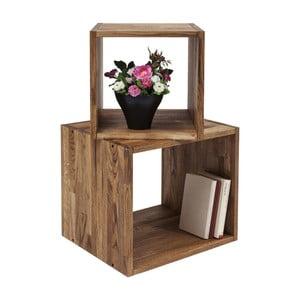 Zestaw 2 półek z litego drewna oliwnego Kare Design