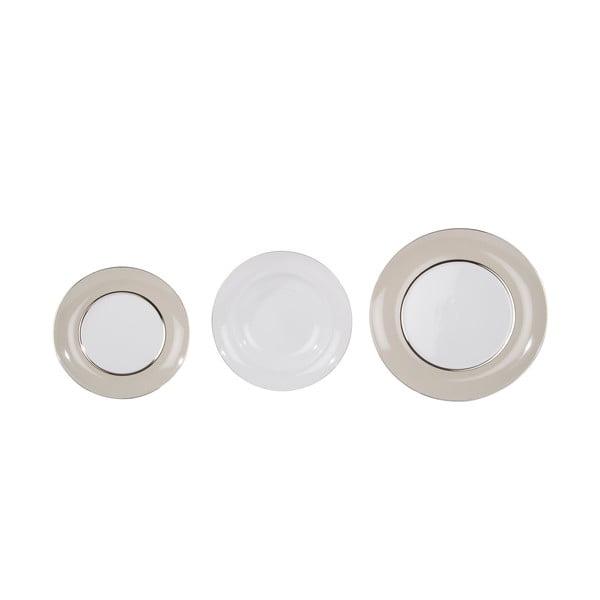 Komplet 18 porcelanowych talerzy Ramponi Pearl Grey