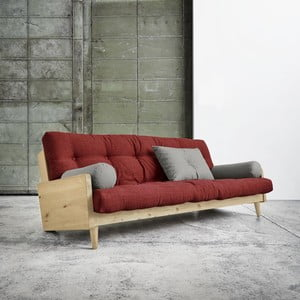 Sofa rozkładana Karup Indie Natural/Passion Red/Granite Grey