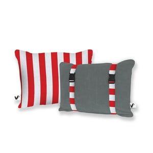 Szara dwustronna poduszka plażowa Origama Red Stripes