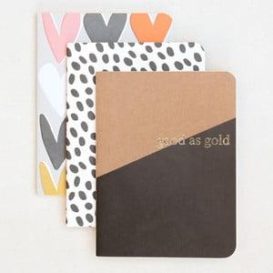 Zestaw 3 notatników Caroline Gardner Kraft Notebooks