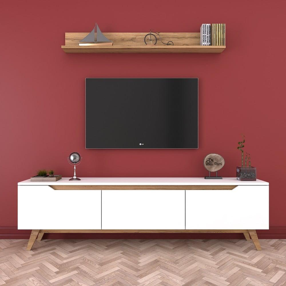 Zestaw białej szafki pod TV i półki Rani