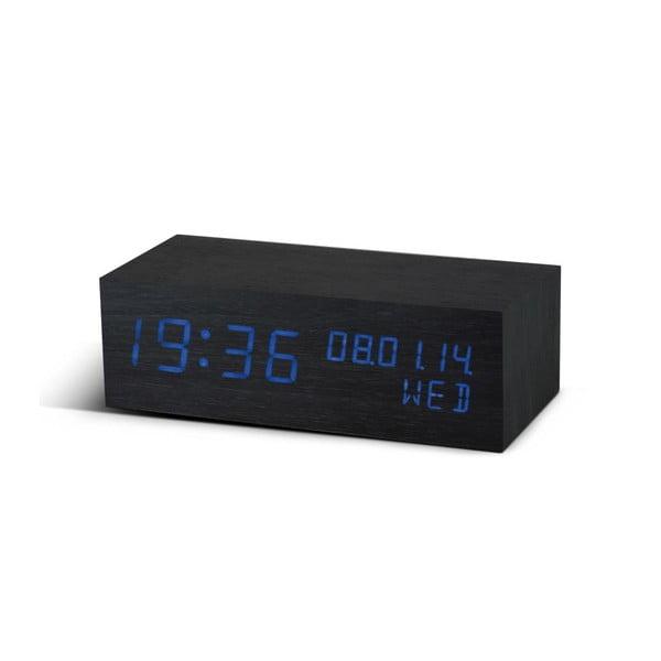 Budzik Square Click Clock z niebieskim LED, czarny