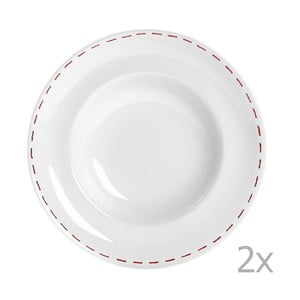 Zestaw 2 talerzy na makaron Sophie Stitch 30,5 cm, czerwony