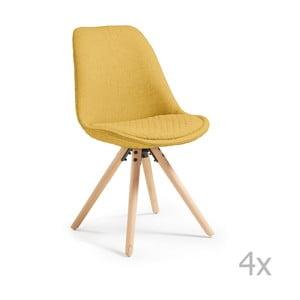 Zestaw 4 żółtych krzeseł La Forma Lars