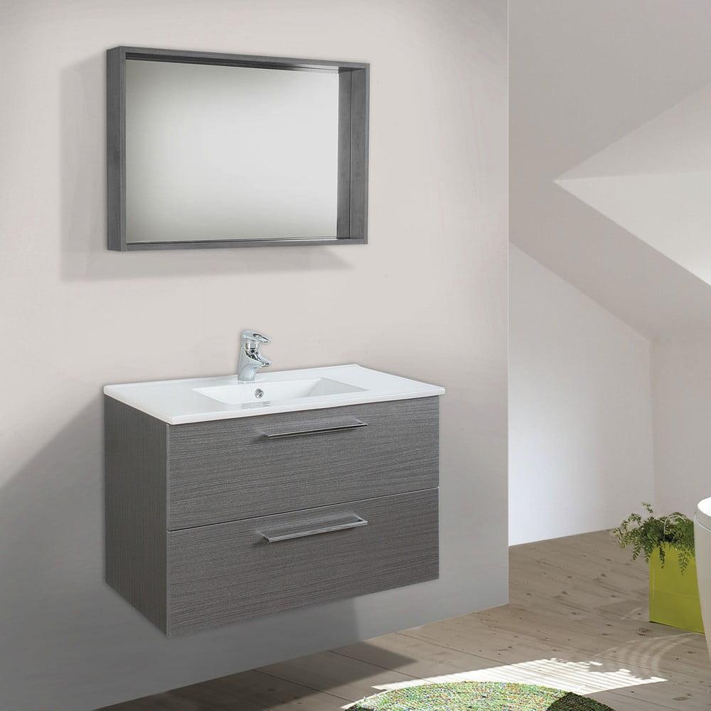 Szafka Do łazienki Z Umywalką I Lustrem Giro Odcień Szarości 70 Cm Bonami