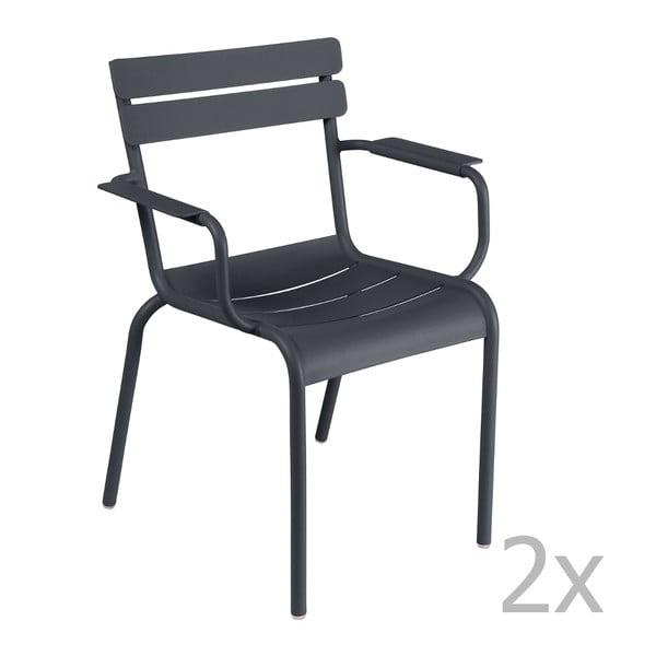Zestaw 2 antracytowych krzeseł z podłokietnikami Fermob Luxembourg