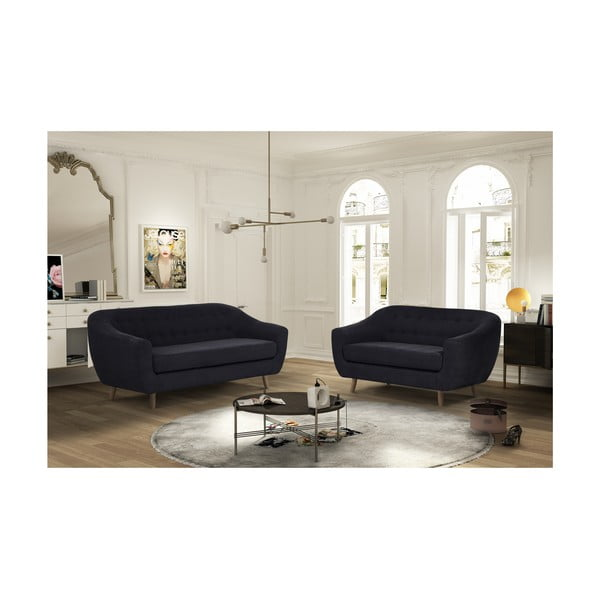 Czarny zestaw 2 sof dwuosobowej i trzyosobowej Jalouse Maison Vicky