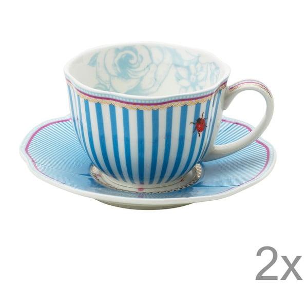 Porcelanowa filiżanka ze spodkiem Stripie Lisbeth Dahl, 2 szt.