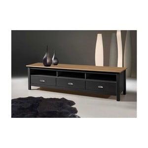 Szary stolik pod TV z drewna sosnowego z 3 szufladami SOB Jayde