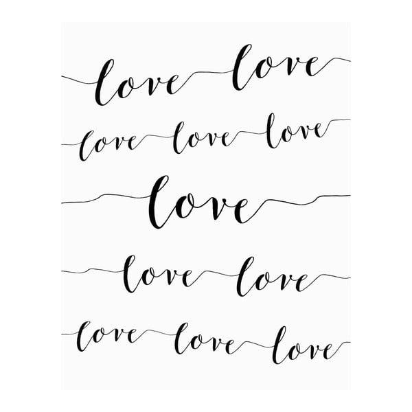 Plakat w drewnianej ramie Love love love, 38x28 cm