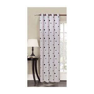 Biała zasłona we wzory z mikrowłókna DecoKing Witchcraft, 140x245 cm