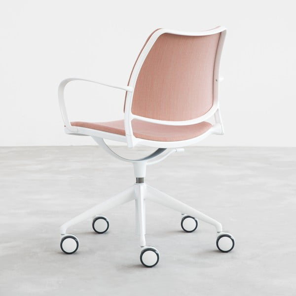 Krzesło na kółeczkach Gas Swivel, różowe/białe nogi