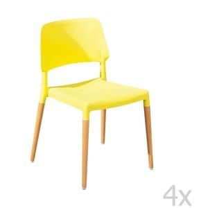 Zestaw 4 krzeseł do jadalni Molde Yellow