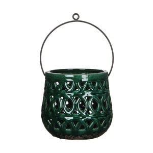Zielony lampion ceramiczny Mica Monique, 17x19cm
