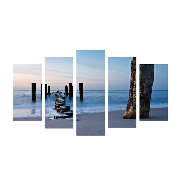 5-częściowy obraz Walk Sea, 60x100 cm