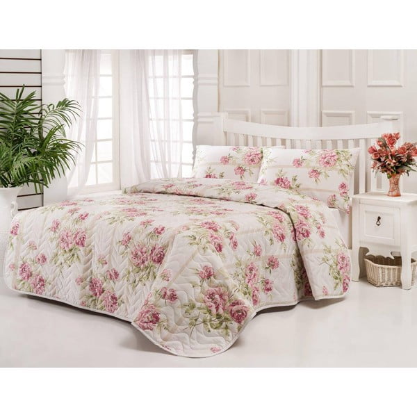 Pikowana narzuta i 2 poszewki na poduszki Firuze Pink, 200x220 cm