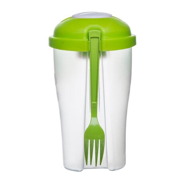 Zielony kubek na sałatkę z widelczykiem Sagaform