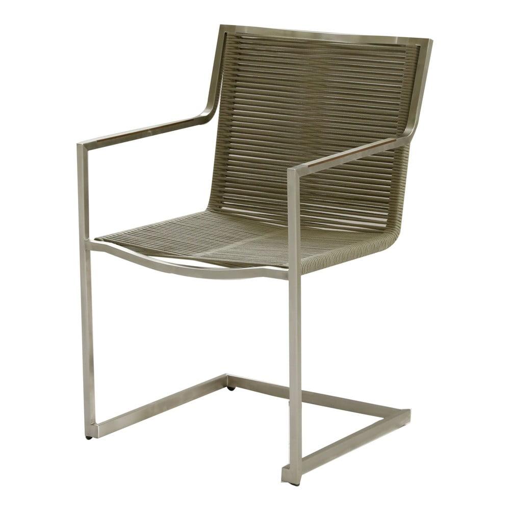 Zestaw 4 brązowych krzeseł ogrodowych ze stali nierdzewnej ADDU Sienna