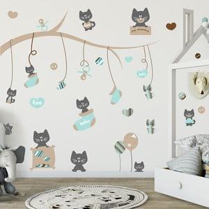 Zestaw 50 naklejek Ambiance Blue Cats and Tree