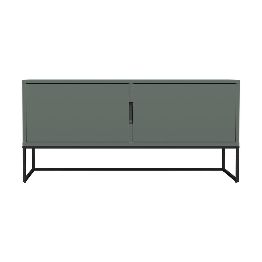 Zielona 2-drzwiowa szafka pod TV z metalowymi nogami w czarnym kolorze Tenzo Lipp, szer. 118 cm