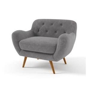 Ciemnoszary   fotel z fioletowymi guzikami Wintech Zefir