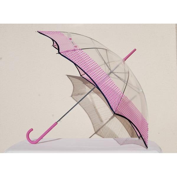 Przezroczysty parasol Vichy, różowy