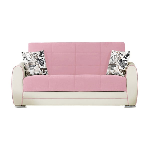 Kremowo-różowa dwuosobowa sofa rozkładana ze schowkiem Esidra Rest