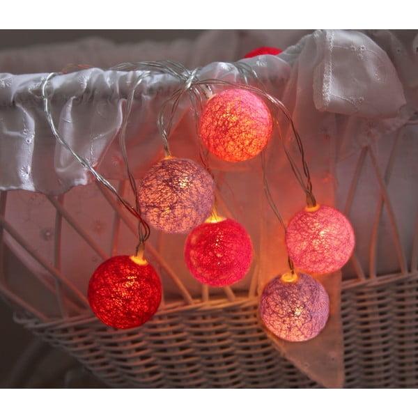 Różowa girlanda świetlna LED Best Season Crystal, 10 lampek