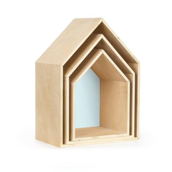 Zestaw 3 półeczek Houses, niebieskie