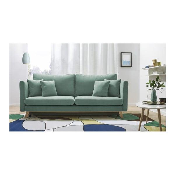 Jasnozielona rozkładana sofa 3-osobowa Bobochic Paris Triplo