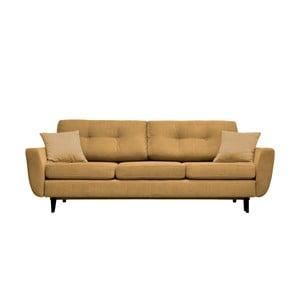 Żółta 3-osobowa sofa rozkładana z czarnymi nogami Mazzini Sofas Jasmin