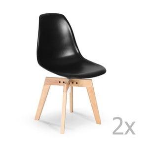 Zestaw 2   czarnych krzeseł Garageeight Barronna
