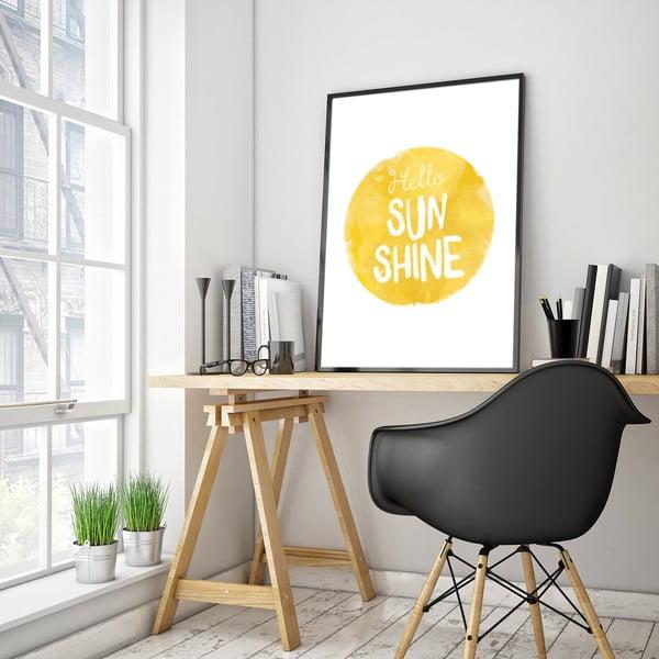 Plakat w drewnianej ramie Hello sun, 38x28 cm