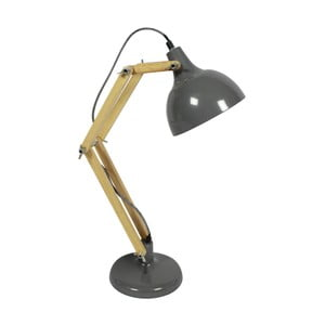 Szara lampa stołowa z drewna sosnowego i metalu Red Cartel Dexter