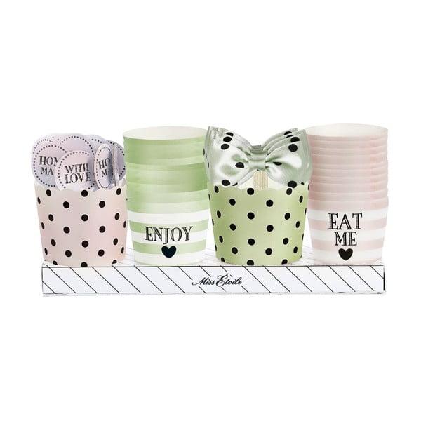 Komplet papilotek na muffiny i ozdób, zielono-różowe