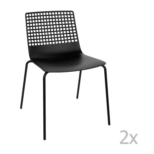 Zestaw 2 czarnych krzeseł ogrodowych Resol Wire