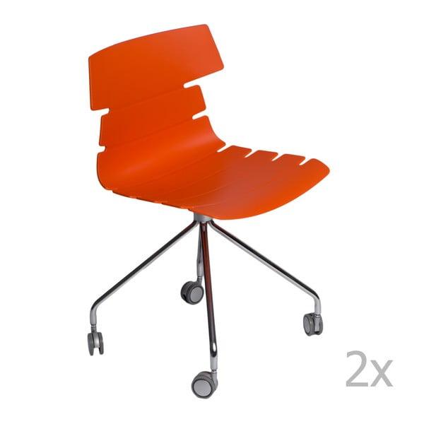 Zestaw 2 pomarańczowych krzeseł D2 Techno Roll