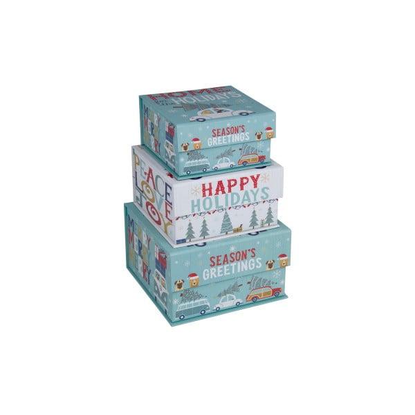 Zestaw 3 szt. małych pudełek Tri-Coastal Happy Holidays