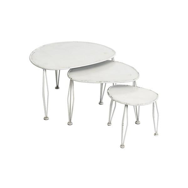Zestaw 3 białych stolików Nordal Shaped
