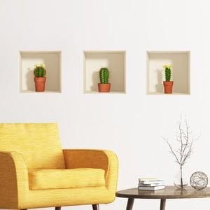 Zestaw 3 naklejek na ścianę 3D Ambiance Cactus