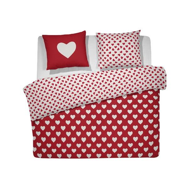 Pościel  Hearts, 200x200 cm, czerwona
