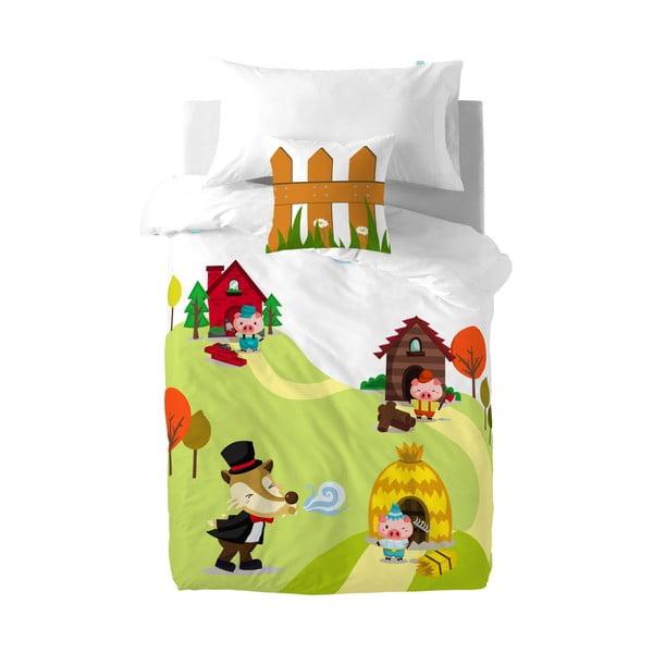 Bawełniana pościel dziecięca z poszewką na poduszkę Mr. Fox Little Pigs, 140x200 cm