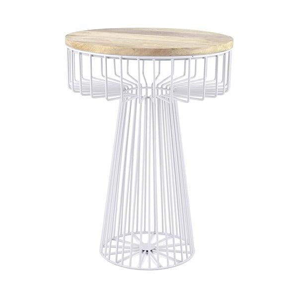 Biały stolik z drewnianym blatem HF Living Spore
