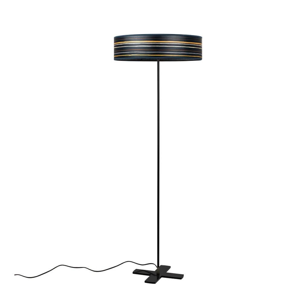 Ciemnogranatowa lampa stojąca lampa z abażurem z naturalnego forniru Bulb Attack Ocho