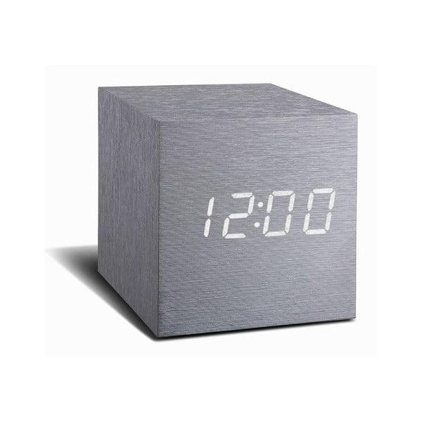 Szary budzik z białym wyświetlaczem LED Gingko Cube Click Clock