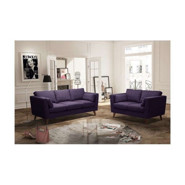 Fioletowy zestaw 2 sof dwuosobowej i trzyosobowej Jalouse Maison Elisa