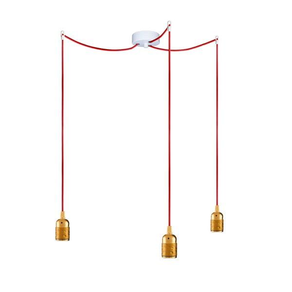Trzy wiszące kable Uno, złoty/czerwony/biały